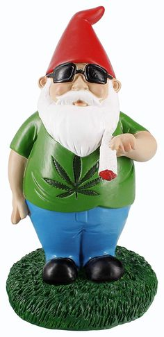 """If you are interested and want to buy it, just click on the image and you will be redirected to the purchase page :') stoner things, stoner stuff, stoners, marijuana, weed, thc, sativa, indica, 420, cannabis, #420  Smoking Garden Gnome Statue by Gnometastic - Recreationally or medically it's 420 all the time with this little stoner! """"Gerry"""" the Smoking Gnome is epitome of chill. He's just smoking his joint and watching the world roll by while spreading TLC with his good vibes and cool demeanor. Yard Gnomes, Funny Garden Gnomes, Funny Gnomes, Gnome Garden, Indoor Outdoor, Statue Art, Cool Pipes, Outdoor Garden Statues, Gnome Statues"""