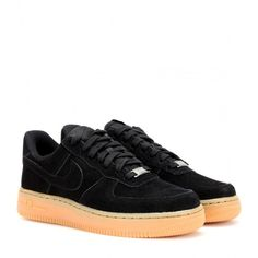 Nike Nike Air Force 1 Suede Sneakers ($110) ❤ liked on Polyvore featuring shoes, sneakers, black, black trainers, nike footwear, nike, black suede shoes and black suede sneakers