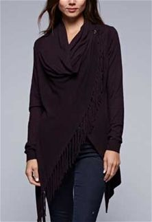 Love Stitch Carys Fringed Shawl Sweater with Button in Heather Burgundy IMP5797-HTRBURGUNDY