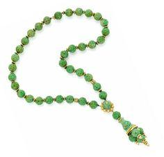 Van Cleef & Arpels, A Carved Jade, Diamond and Gold Sautoir, circa 1970. Via FD Gallery, www.fd-inspired.com