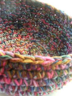 CHUNKY CROCHETED BOWL:   I love this little one; not hard, but if you've never worked on heavy textiles in crochet before, it seems m...