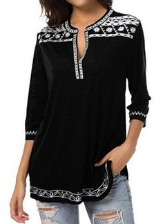 72330454148 Women Long Sleeve Blouse Tunic Tops Loose Shirt Pullover Plus Size