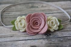 Vintage Pink and Cream Wool Felt Flower Headband - Trio of Roses - Newborn Baby to Adult. $7.50, via Etsy.