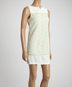 Look at this #zulilyfind! White & Lime Lace Sleeveless Dress by Esley Collection #zulilyfinds