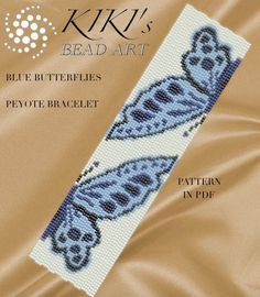 Peyote Pattern for bracelet Blue butterflies peyote bracelet Bead Loom Bracelets, Peyote Beading, Bead Loom Patterns, Peyote Patterns, Bracelet Patterns, Beading Patterns, Cross Stitch Patterns, Beaded Bracelets, Bookmarks