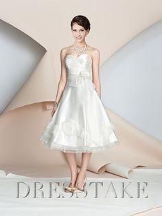 Attractive A-line Sweetheart Tea-length Elastic Woven Satin White Wedding Dresses