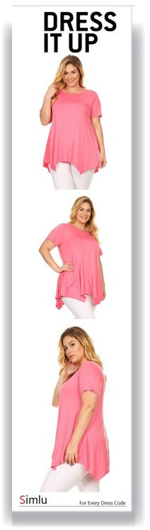 3022d25ff05eb6 $17.99 Simlu Plus Size Short Sleeve A-Line Tunic Tops with Handkerchief Hem  - USA
