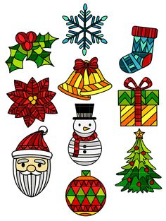 Stained Glass Christmas Set Semi Exclusive Clip Art Set For Digitizing ...