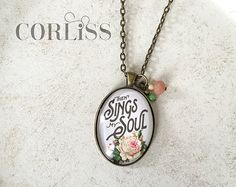 Then Sings My Soul pendant necklace with accent beads - floral hymn print, antique bronze / brass necklace
