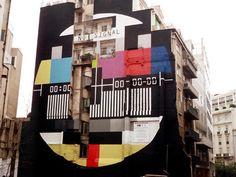 Huge graffiti st, Athens, Center by Greek artist Panos Sklavenitis. Urban Street Art, Best Street Art, Amazing Street Art, 3d Street Art, Street Art Graffiti, Urban Art, Wall Street, Graffiti Artwork, Art Mural