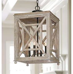 Cedros Coastal Beach Weathered White Wood Lantern Pendant | Kathy Kuo Home