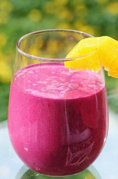 Beet and Berry Smoothie   1 medium beet, steamed, roasted, or raw (if you don't have a high speed blender, use steamed or roasted)  1 cup fresh or frozen mixed berries  1/2 cup fresh orange, sectioned  3/4 cup homemade almond milk or 3/4 cup commercial almond milk