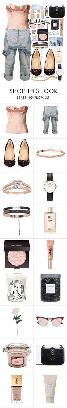 """Dress to Impress: Blind Date oN MYway"" by dzchocolatess ❤ liked on Polyvore featuring Burberry, Crafted, Christian Louboutin, Daniel Wellington, Accessorize, Chanel, Laura Mercier, Too Faced Cosmetics, Diptyque and Threshold"