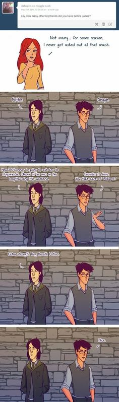 SNAPE AND JAMES WORKING TOGETHER TO MAKE SURE LILY NEVER GOT ASKED OUT HOW PERFECT IS THAT