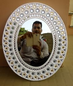 In mirror mdf bord. Won pis ₹ Mirror Painting, Mirror Art, Mirrors, Art N Craft, Diy Art, Rajasthani Art, Mirror Crafts, Clay Wall Art, Clay Art Projects