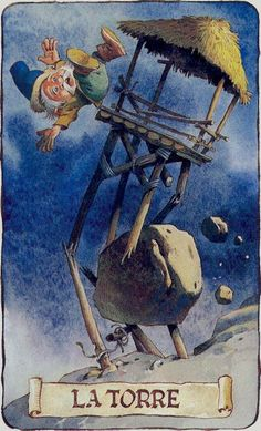 XVI. The Tower - Tarot of the Gnomes by Antonio Lupatelli