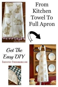 Easy Apron DIY Free Pattern Idea. How to make a full apron dress from a kitchen towel. Sew or no Sew come get the full step by step instructions.