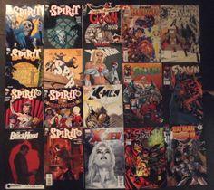 The 18 Comics up for auction are: The Spirit (DC) #19, 18, 17, 15, 14, 13, 12, Spawn (Image) #6, 7, 10, 16, Batman VS Predator II (DC/Dark Horse) # ... #comics #large #spawn #spirit