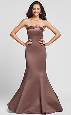 Trumpet/Mermaid Strapless Floor-length Satin Bridesmaid Dre... – USD $ 97.99