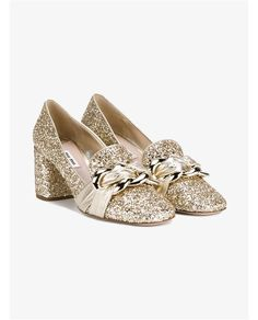 MIU MIU Glitter Embellished Leather Pumps. #miumiu #shoes #pumps