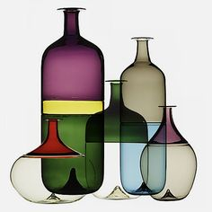 The Bolle series of five bottles, designed by Tapio Wirkkala in 1968 for Venini
