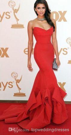 Emmy Awards Celebrity Dresses Backless Mermaid Sweep Train Taffeta Red Nina Dobrev Evening Prom Party Dresses Casual Summer Dresses Cheap Dresses For Women From Topweddingdresses, $95.37| Dhgate.Com