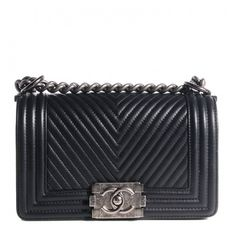 CHANEL Calfskin Chevron Quilted Small Boy Flap Black ❤ liked on Polyvore