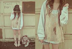 Baggy sweater in the fall~perfect for snuggles Baggy Sweaters, Dream Catcher Necklace, Gussied Up, Liz Lisa, Floral Backpack, Pink Boots, Haute Hippie, Pink Lace, Dress Me Up