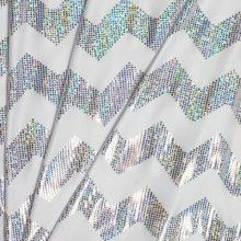 White Holographic Chevron Metallic Lycra - Online at Cali Fabrics (Our online store)