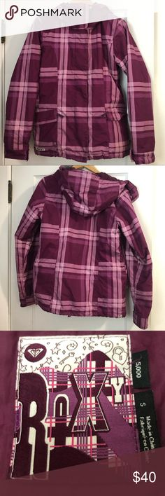 c614702571 Roxy Ski Jacket Pink plaid Roxy ski jacket with a thick lining, inner and  outer