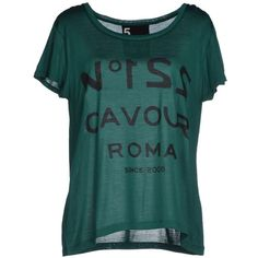 5preview T-shirt ($80) ❤ liked on Polyvore featuring tops, t-shirts, dark green, short sleeve tee, print top, short sleeve tops, dark green t shirt and print t shirts