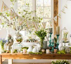 Pottery Barn: Easter Spring table decor, Patterned Egg Ornament, Set of 2
