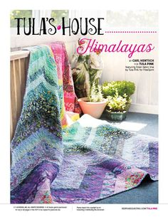 Himalayas quilt kit. Tula Pink likes to take traditional quilting ideas, like chevrons, and add a bit of a colorful twist. The Himalayas quilt aligns simple diagonal pieced quilt blocks to create a majestic mountain vista inspired by a view of the Himalayas. A colorful quilt to brighten up any day! #TulasHouse #TulaPink