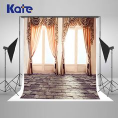 Kate Indoor Wedding Backdrop Complicated Curtains and Fresh Windows Gray Solid Brick Photo Large Size Seamless Photo