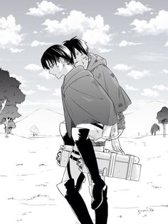 Levi and Eren. If this picture doesn't show how much Eren means to Levi, then I don't know which one does. Attack on Titan.