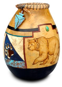 Native American Inspired Gourd Vase with Bear and Paw Cut out by Christy Barajas