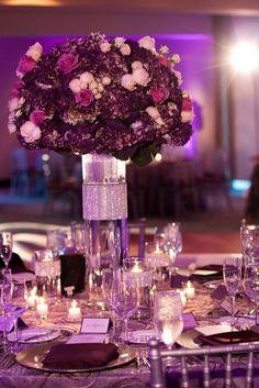 purple flower as wedding centerpieces #purple #wedding