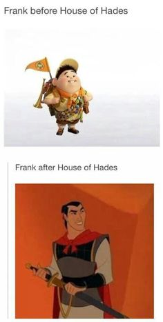 frank before and after house of hades. so true!