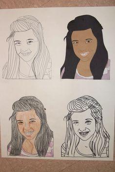 Four Self-Portraits. Contour line, continuous contour, collage, and colored pencil. Line Art Lesson, Contour Line, High School Art, Arts Ed, Colored Pencils, Art Lessons, 2d, Disney Characters, Fictional Characters