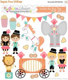 INSTANT DOWNLOAD Circus Clipart Carnival Clip Art For Commercial Use Invitations Party Supplies