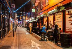 A street in Dublin, Ireland, on a warm Friday night in September.