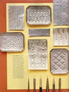 Martha Stewart Living Punched Tin Story November 2003 by Lauren Potter at… Tin Can Art, Tin Art, Soda Can Art, Aluminum Can Crafts, Metal Crafts, Metal Embossing, Metal Stamping, Nail Stamping, Feuille Aluminium Art