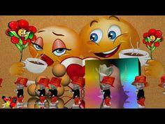 YouTube Smiley Emoji, Emoticon, Good Morning Coffee Gif, Funny Emoji Faces, Happy Birthday Candles, Gifs, Romantic Pictures, Nighty Night, Good Mood