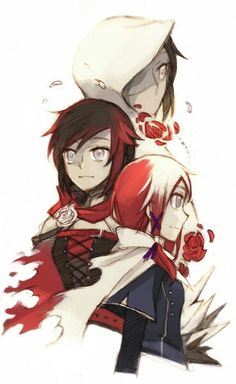 RWBY, Summer rose, Ruby rose, Mei rose (I don't ship white rose but the artwork is awesome)