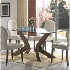 Check out the Coaster Furniture 120361 San Vicente Glass Top Rectangular Dining Table in Walnut priced at $622.95 at Homeclick.com.
