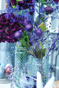 Flowers - purple - blue - mason jars -  the purple looks great with the blue