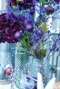 Flowers - purple - blue - mason jars -  the purple looks great with the blue