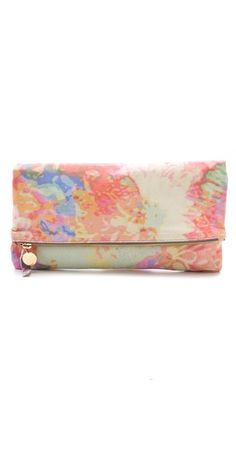 floral fold over clutch / clare vivier