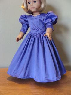 purple silk party dress for 18 inch doll by DollClothesbyEvie