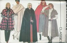 An unused original ca. 1986 Butterick pattern 6796.  Misses' Cape. Flared, unlined cape, above mid knee, lower calf or evening length, has narrow hem. Views A and B have hood. View B has purchased closures. View C has purchased fringe. Views C and D have collar (wrong side shows).  Purchased top, skirt and pants.